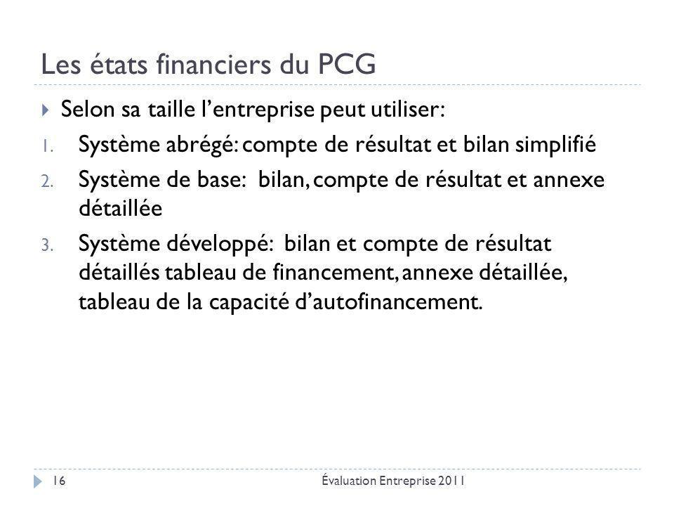 Les états financiers du PCG Évaluation Entreprise 201116  Selon sa taille l'entreprise peut utiliser: 1. Système abrégé: compte de résultat et bilan