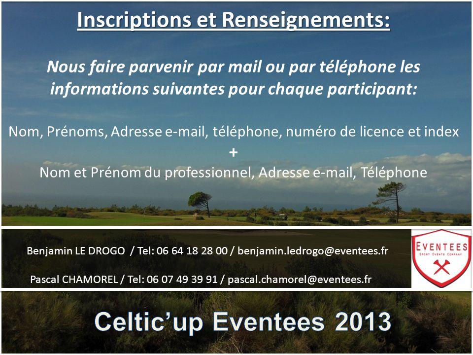 Inscriptions et Renseignements: Nous faire parvenir par mail ou par téléphone les informations suivantes pour chaque participant: Nom, Prénoms, Adress