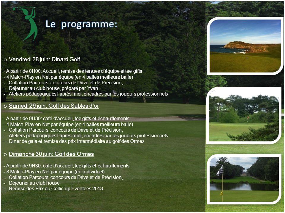 o Vendredi 28 juin: Dinard Golf - A partir de 8H00: Accueil, remise des tenues d'équipe et tee gifts - 4 Match-Play en Net par équipe (en 4 balles mei