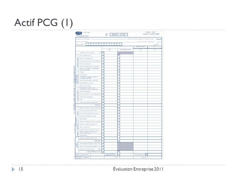 Actif PCG (1) Évaluation Entreprise 201115