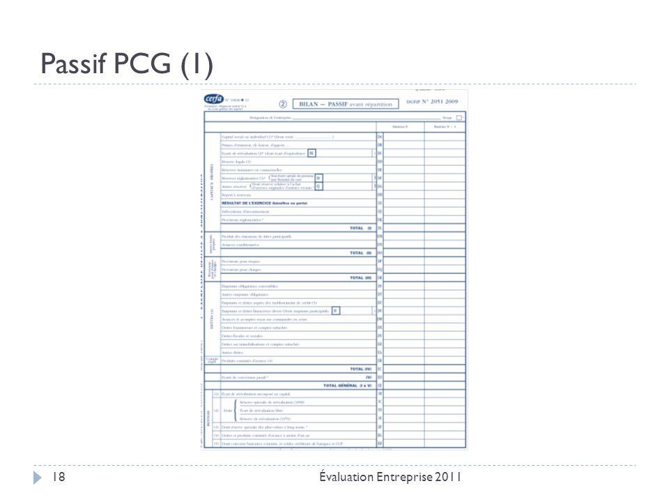 Passif PCG (1) Évaluation Entreprise 201118