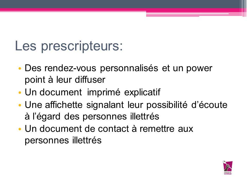 Les prescripteurs: Des rendez-vous personnalisés et un power point à leur diffuser Un document imprimé explicatif Une affichette signalant leur possib