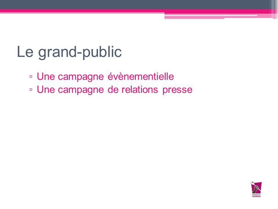 Le grand-public ▫ Une campagne évènementielle ▫ Une campagne de relations presse
