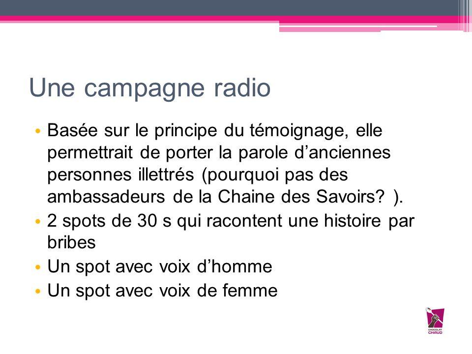 Une campagne radio Basée sur le principe du témoignage, elle permettrait de porter la parole d'anciennes personnes illettrés (pourquoi pas des ambassa