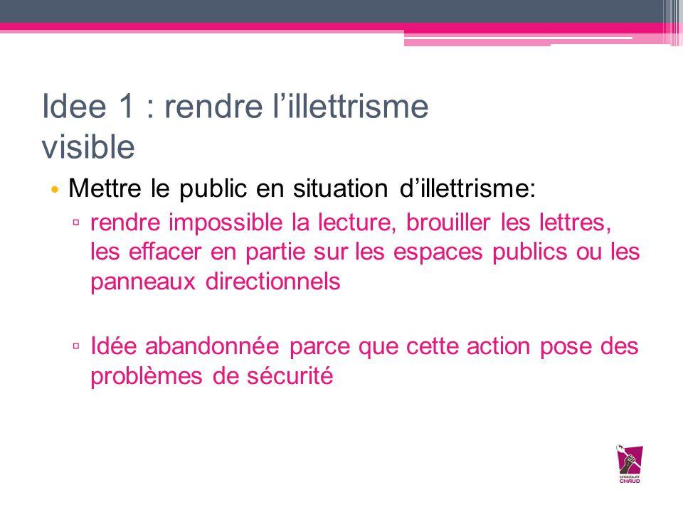 Idee 1 : rendre l'illettrisme visible Mettre le public en situation d'illettrisme: ▫ rendre impossible la lecture, brouiller les lettres, les effacer