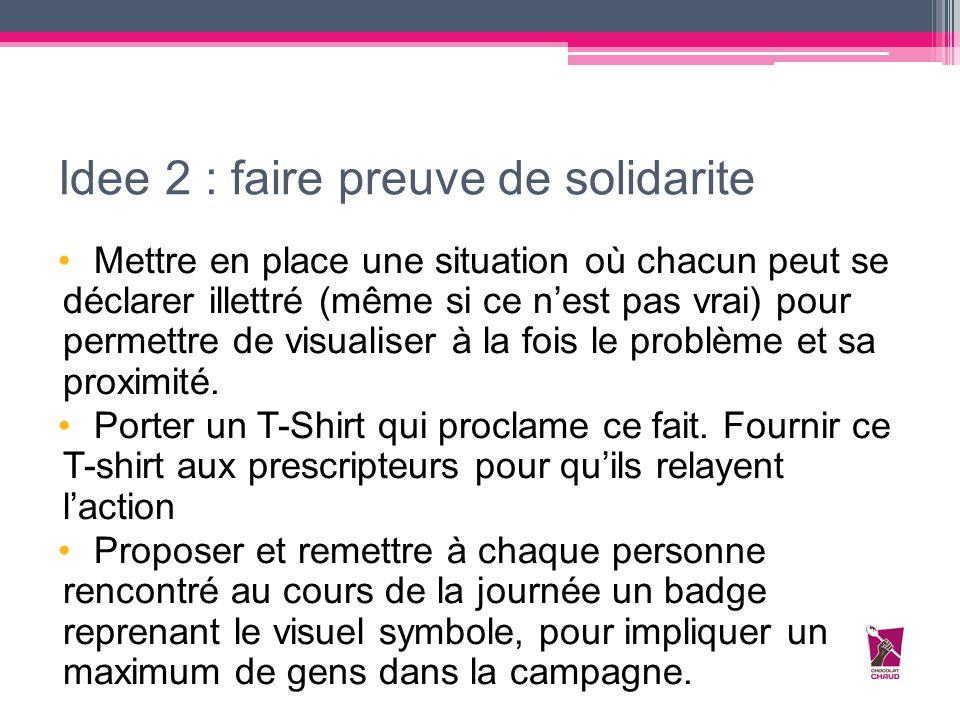 Idee 2 : faire preuve de solidarite Mettre en place une situation où chacun peut se déclarer illettré (même si ce n'est pas vrai) pour permettre de vi