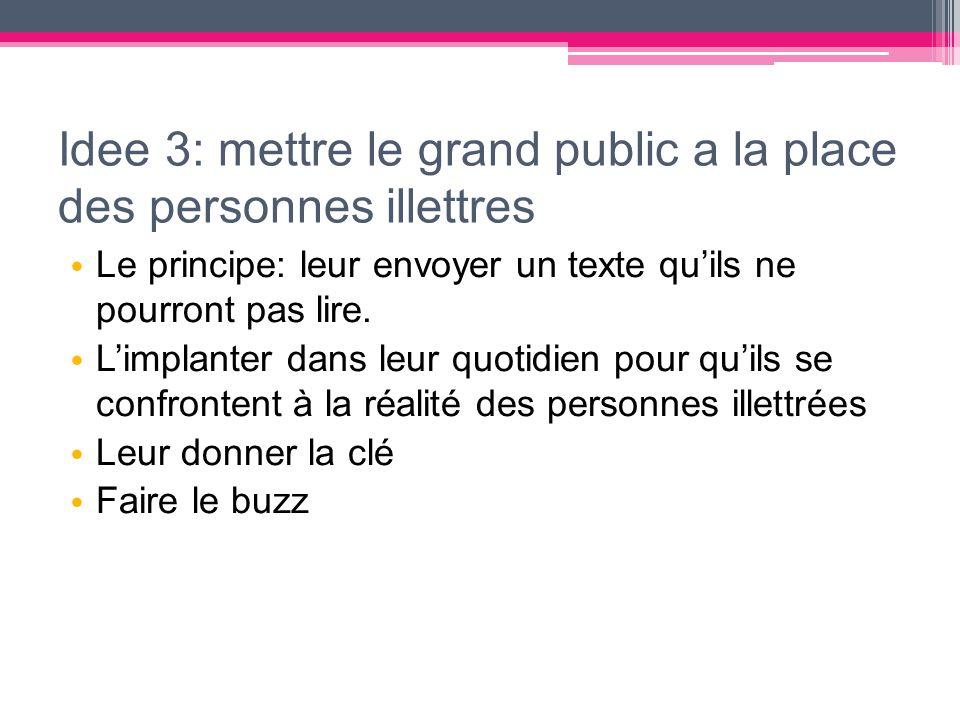 Idee 3: mettre le grand public a la place des personnes illettres Le principe: leur envoyer un texte qu'ils ne pourront pas lire. L'implanter dans leu