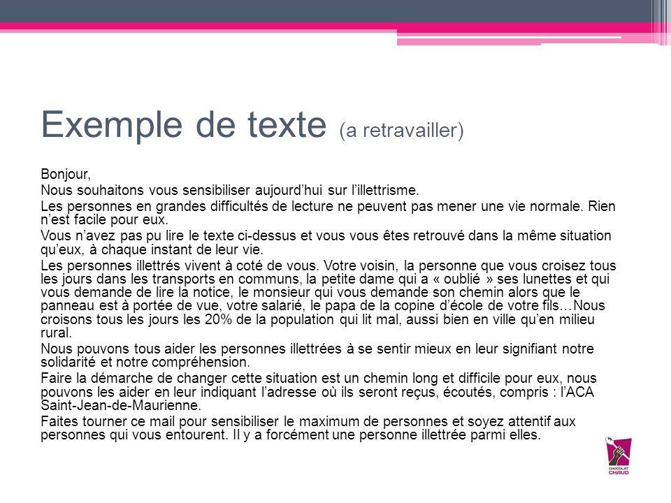 Exemple de texte (a retravailler) Bonjour, Nous souhaitons vous sensibiliser aujourd'hui sur l'illettrisme. Les personnes en grandes difficultés de le