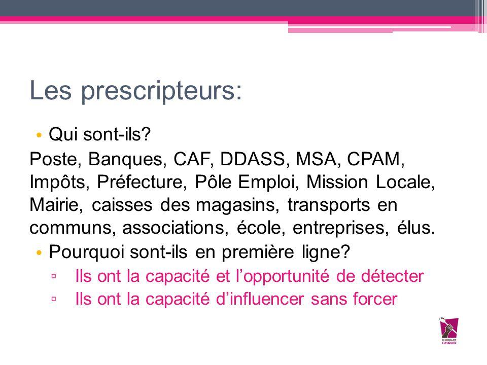 Les prescripteurs: Qui sont-ils? Poste, Banques, CAF, DDASS, MSA, CPAM, Impôts, Préfecture, Pôle Emploi, Mission Locale, Mairie, caisses des magasins,