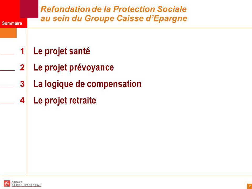 2 Refondation de la Protection Sociale au sein du Groupe Caisse d'Epargne 1 Sommaire 2 3 4 Le projet santé Le projet prévoyance La logique de compensation Le projet retraite