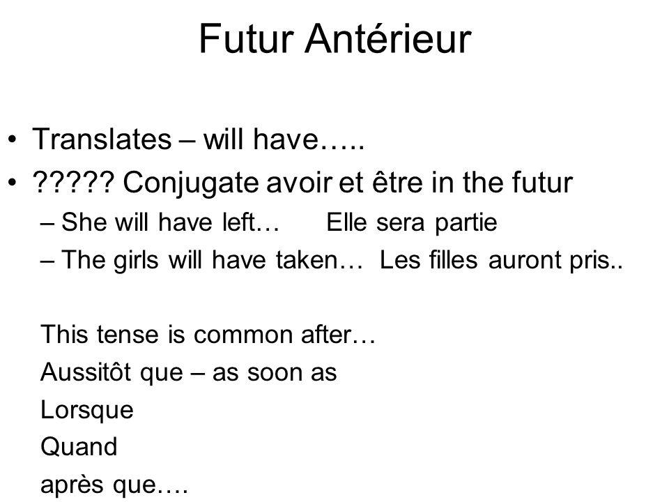 Futur Antérieur Translates – will have….. ????.