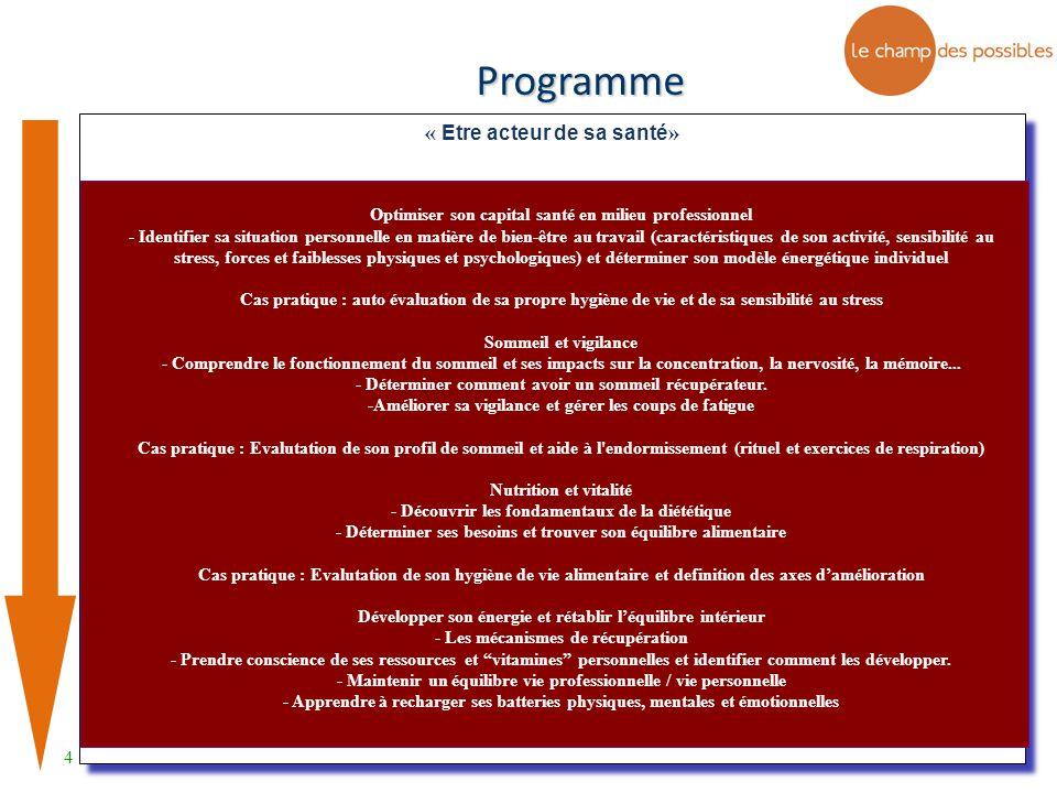 4 « Etre acteur de sa santé » Programme Optimiser son capital santé en milieu professionnel - Identifier sa situation personnelle en matière de bien-ê