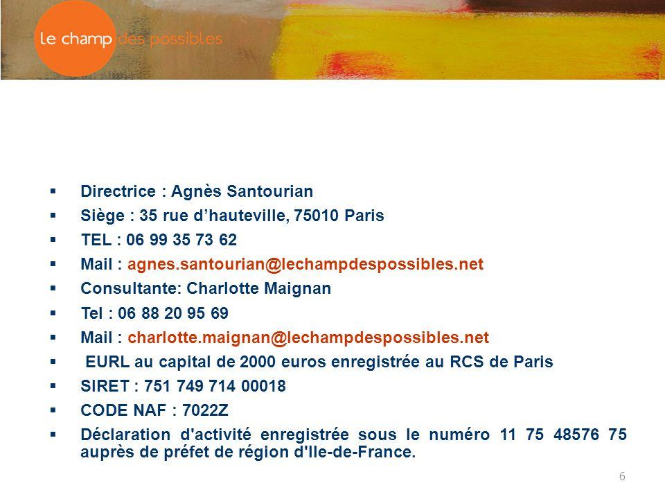 6  Directrice : Agnès Santourian  Siège : 35 rue d'hauteville, 75010 Paris  TEL : 06 99 35 73 62  Mail : agnes.santourian@lechampdespossibles.net