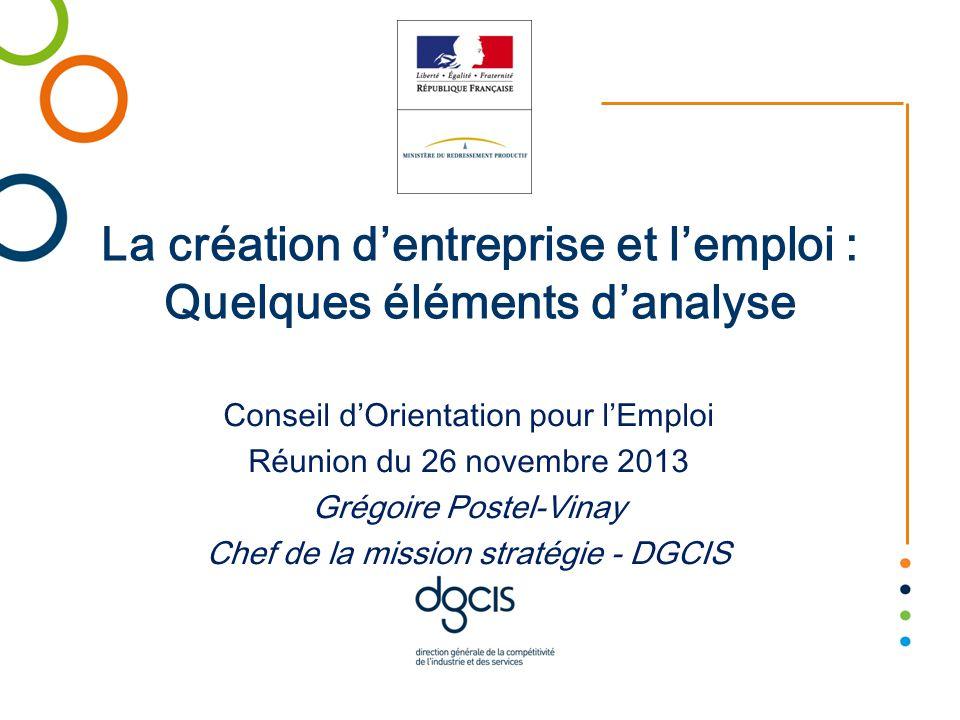 La création d'entreprise et l'emploi : Quelques éléments d'analyse Conseil d'Orientation pour l'Emploi Réunion du 26 novembre 2013 Grégoire Postel-Vinay Chef de la mission stratégie - DGCIS