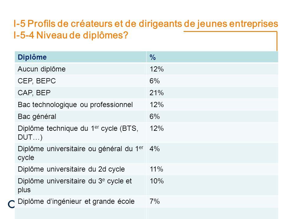 22/08/2014 12 I-5 Profils de créateurs et de dirigeants de jeunes entreprises I-5-4 Niveau de diplômes.