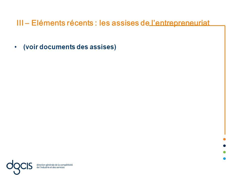 III – Eléments récents : les assises de l'entrepreneuriat (voir documents des assises)