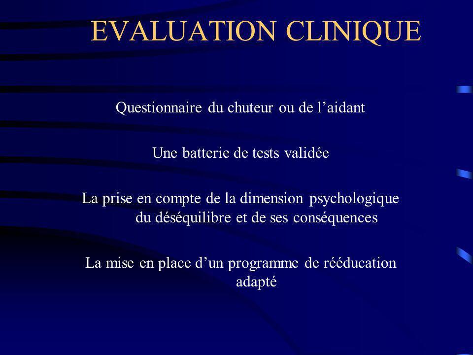 EVALUATION CLINIQUE Questionnaire du chuteur ou de l'aidant Une batterie de tests validée La prise en compte de la dimension psychologique du déséquil