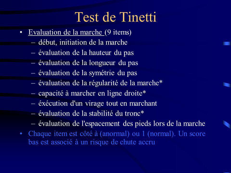 Test de Tinetti Evaluation de la marche (9 items) –début, initiation de la marche –évaluation de la hauteur du pas –évaluation de la longueur du pas –