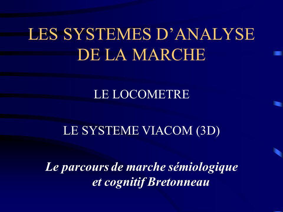 LES SYSTEMES D'ANALYSE DE LA MARCHE LE LOCOMETRE LE SYSTEME VIACOM (3D) Le parcours de marche sémiologique et cognitif Bretonneau