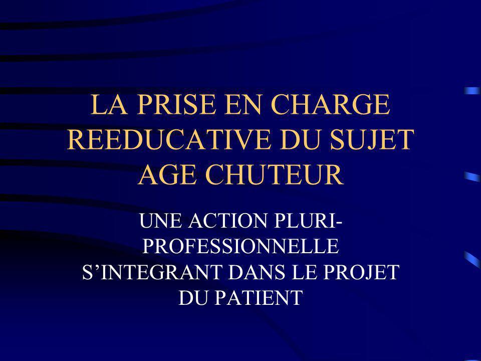LA PRISE EN CHARGE REEDUCATIVE DU SUJET AGE CHUTEUR UNE ACTION PLURI- PROFESSIONNELLE S'INTEGRANT DANS LE PROJET DU PATIENT