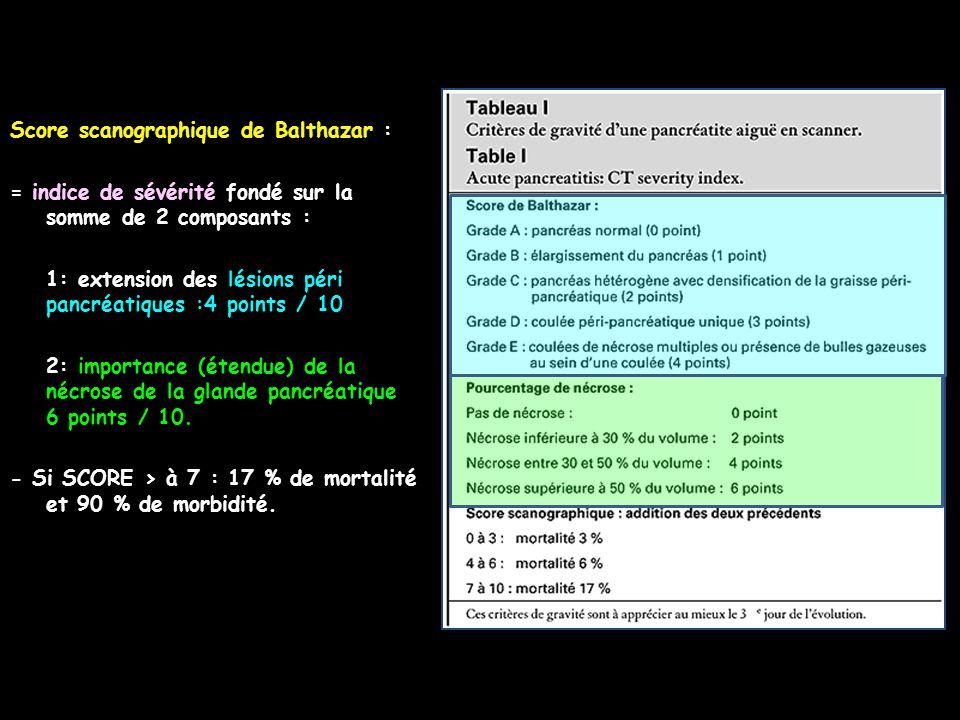 Score scanographique de Balthazar : = indice de sévérité fondé sur la somme de 2 composants : 1: extension des lésions péri pancréatiques :4 points /