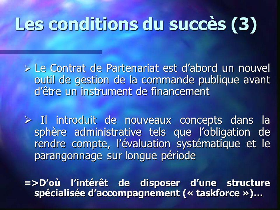 Les conditions du succès (3)  Le Contrat de Partenariat est d'abord un nouvel outil de gestion de la commande publique avant d'être un instrument de