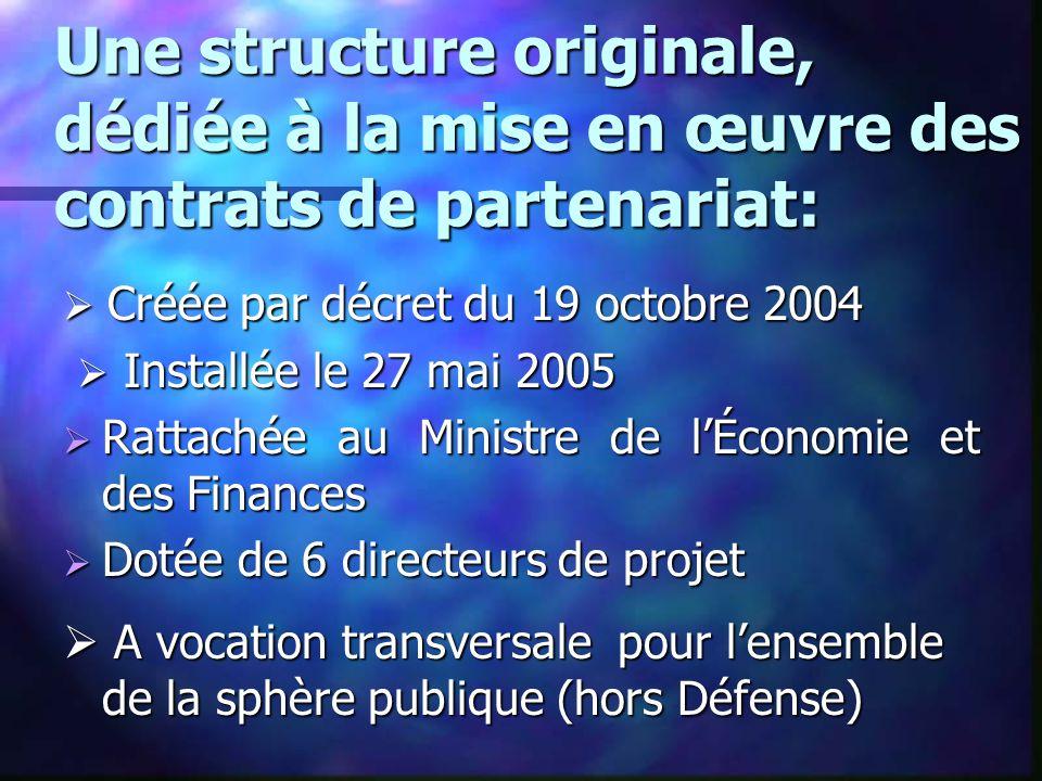 Une structure originale, dédiée à la mise en œuvre des contrats de partenariat:  Créée par décret du 19 octobre 2004  Installée le 27 mai 2005  Ins