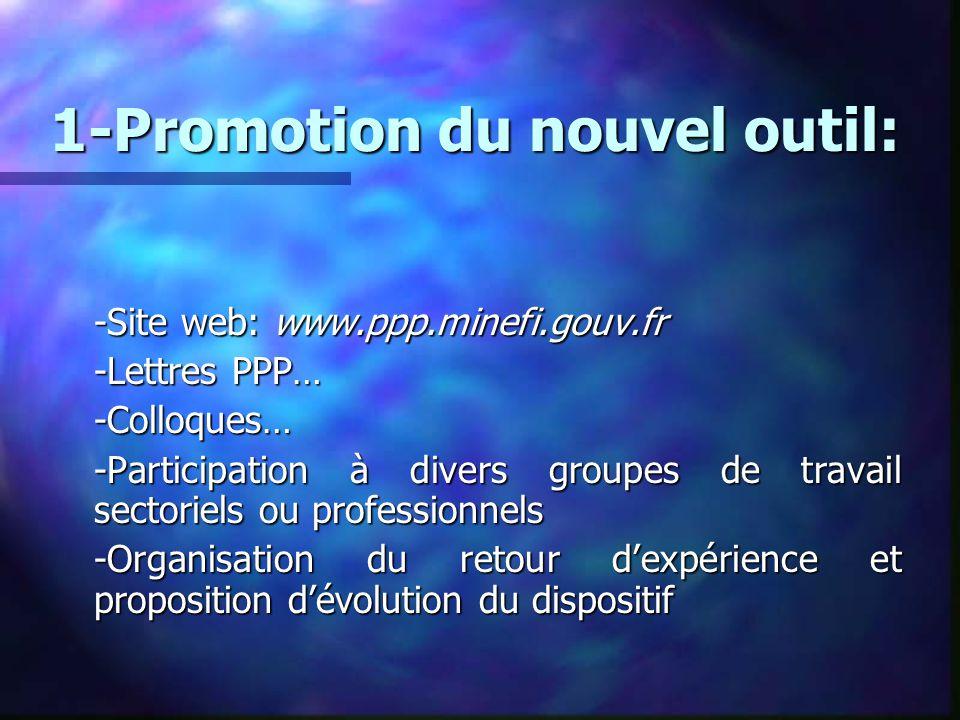 1-Promotion du nouvel outil: -Site web: www.ppp.minefi.gouv.fr -Lettres PPP… -Colloques… -Participation à divers groupes de travail sectoriels ou prof