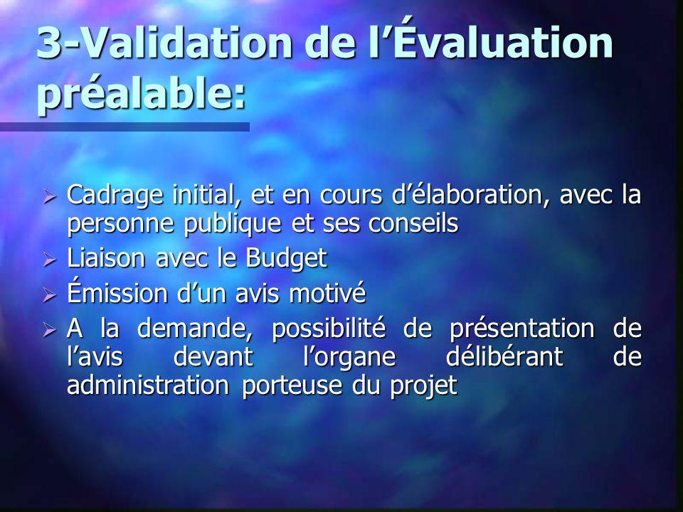 3-Validation de l'Évaluation préalable:  Cadrage initial, et en cours d'élaboration, avec la personne publique et ses conseils  Liaison avec le Budg