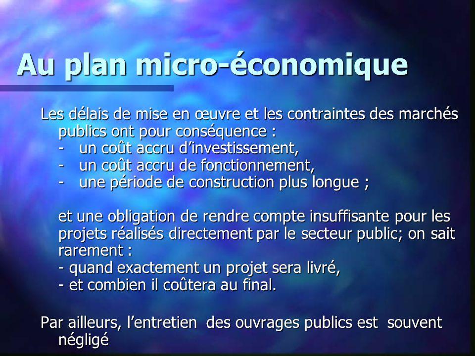Au plan micro-économique Les délais de mise en œuvre et les contraintes des marchés publics ont pour conséquence : - un coût accru d'investissement, -
