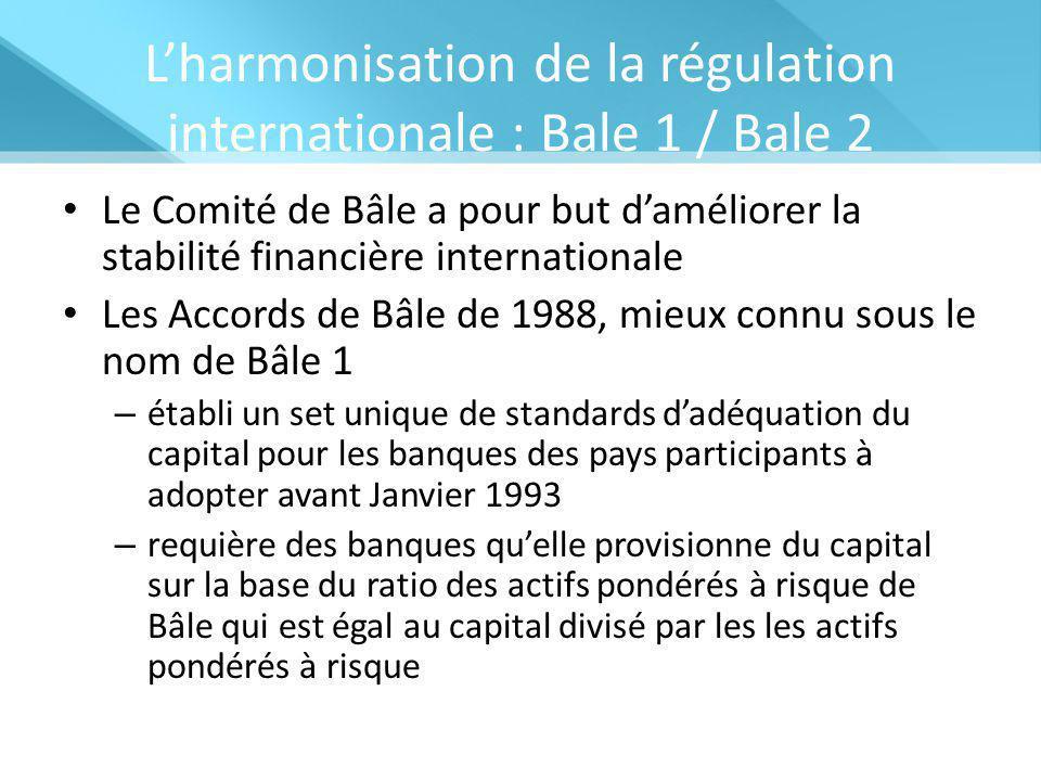 L'harmonisation de la régulation internationale : Bale 1 / Bale 2 Le Comité de Bâle a pour but d'améliorer la stabilité financière internationale Les