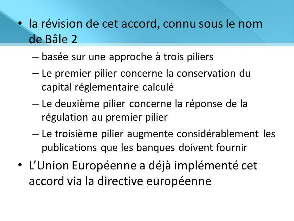 la révision de cet accord, connu sous le nom de Bâle 2 – basée sur une approche à trois piliers – Le premier pilier concerne la conservation du capital réglementaire calculé – Le deuxième pilier concerne la réponse de la régulation au premier pilier – Le troisième pilier augmente considérablement les publications que les banques doivent fournir L'Union Européenne a déjà implémenté cet accord via la directive européenne