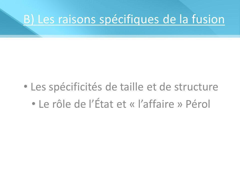 B) Les raisons spécifiques de la fusion Les spécificités de taille et de structure Le rôle de l'État et « l'affaire » Pérol