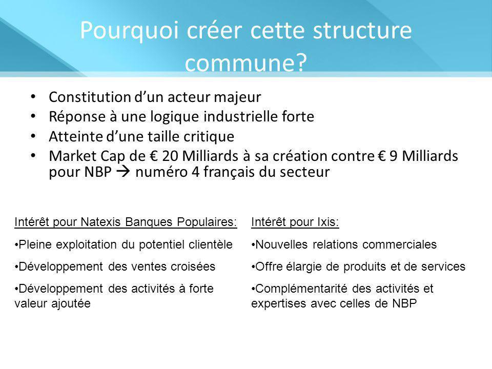 Pourquoi créer cette structure commune? Constitution d'un acteur majeur Réponse à une logique industrielle forte Atteinte d'une taille critique Market