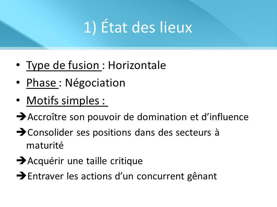 1) État des lieux Type de fusion : Horizontale Phase : Négociation Motifs simples :  Accroître son pouvoir de domination et d'influence  Consolider