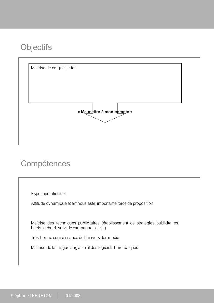 Stéphane LEBRETON01/2003 Expériences Août 99 à aujourd'hui : Responsable du Service Media France au sein de la direction de la Publicité Encadrement d'une équipe de 3 personnes Responsable de la stratégie media annuelle de l'ensemble des entités de la marque (élaboration du brief publicitaire annuel / validation auprès des agences Publicis & Carat), des plans media (élaboration des briefs durant l'année / validations des plans) et du budget (suivi et optimisation de ce dernier dans le cadre de la politique de réduction des coûts du groupe RENAULT).