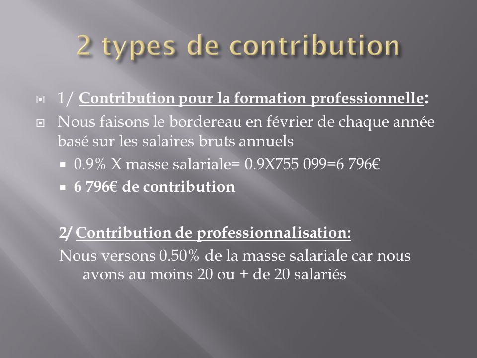  1/ Contribution pour la formation professionnelle :  Nous faisons le bordereau en février de chaque année basé sur les salaires bruts annuels  0.9