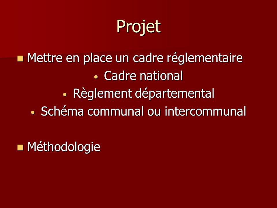 Projet Mettre en place un cadre réglementaire Mettre en place un cadre réglementaire Cadre national Cadre national Règlement départemental Règlement d