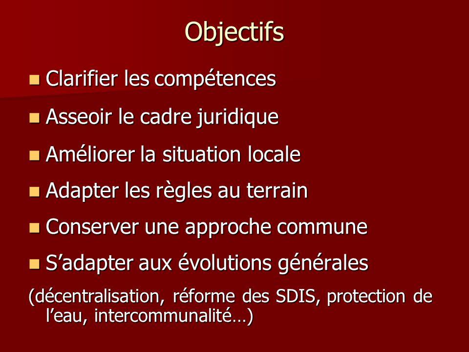 Objectifs Clarifier les compétences Clarifier les compétences Asseoir le cadre juridique Asseoir le cadre juridique Améliorer la situation locale Amél