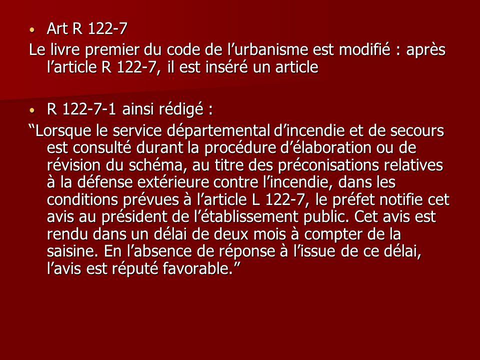 Art R 122-7 Art R 122-7 Le livre premier du code de l'urbanisme est modifié : après l'article R 122-7, il est inséré un article R 122-7-1 ainsi rédigé