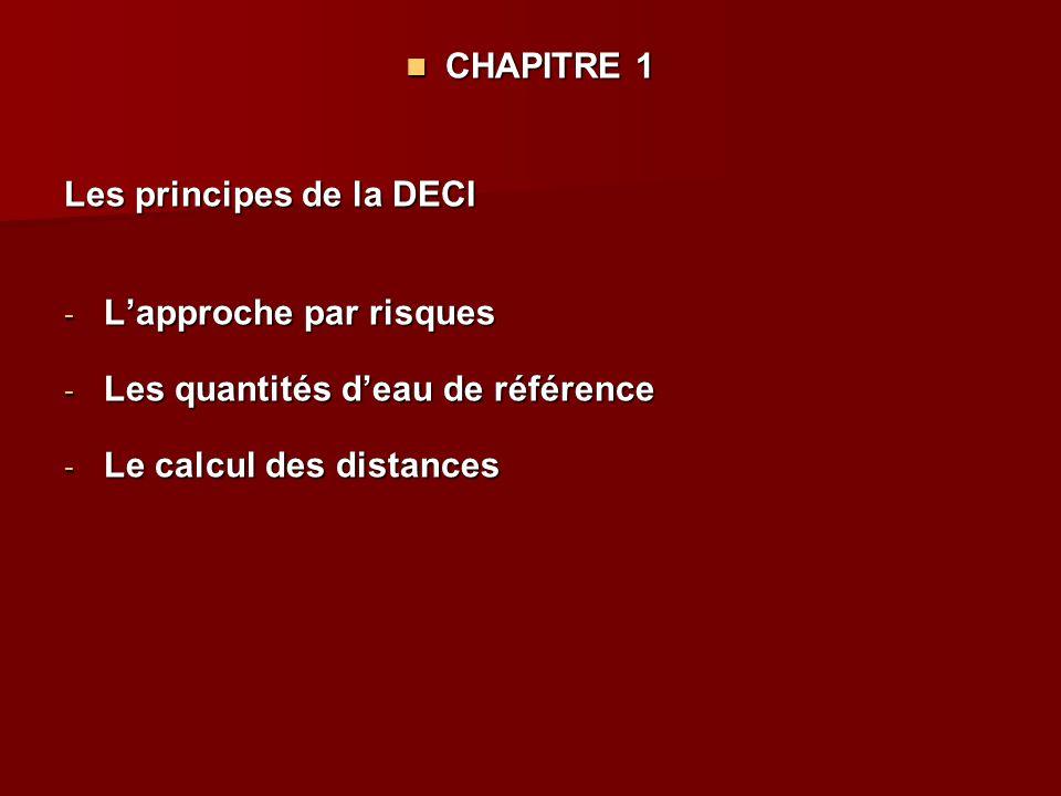 CHAPITRE 1 CHAPITRE 1 Les principes de la DECI - L'approche par risques - Les quantités d'eau de référence - Le calcul des distances