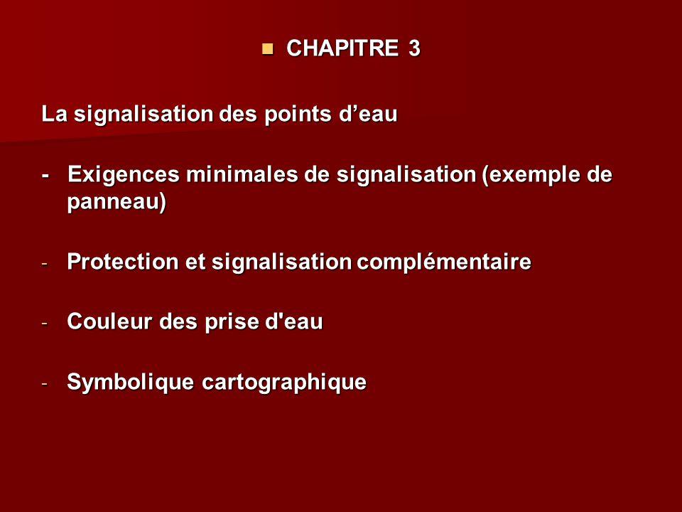 CHAPITRE 3 CHAPITRE 3 La signalisation des points d'eau - Exigences minimales de signalisation (exemple de panneau) - Protection et signalisation comp
