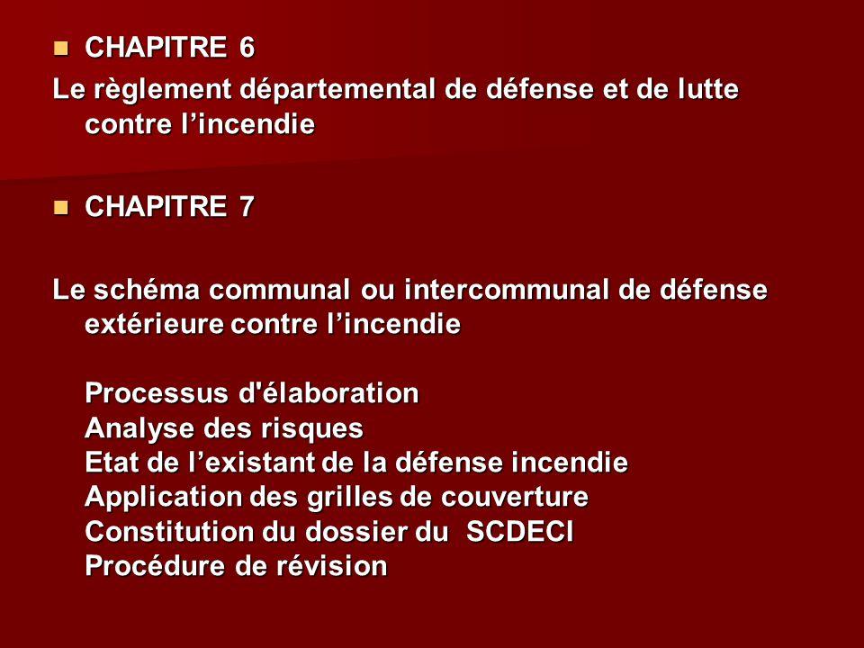 CHAPITRE 6 CHAPITRE 6 Le règlement départemental de défense et de lutte contre l'incendie CHAPITRE 7 CHAPITRE 7 Le schéma communal ou intercommunal de