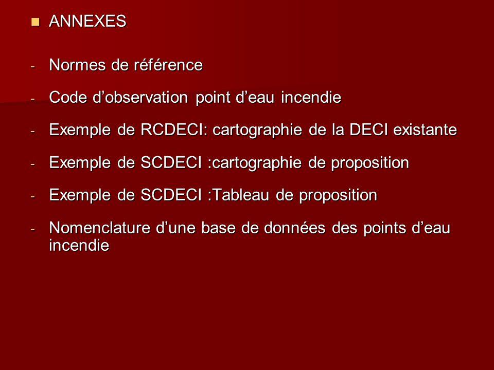 ANNEXES ANNEXES - Normes de référence - Code d'observation point d'eau incendie - Exemple de RCDECI: cartographie de la DECI existante - Exemple de SC