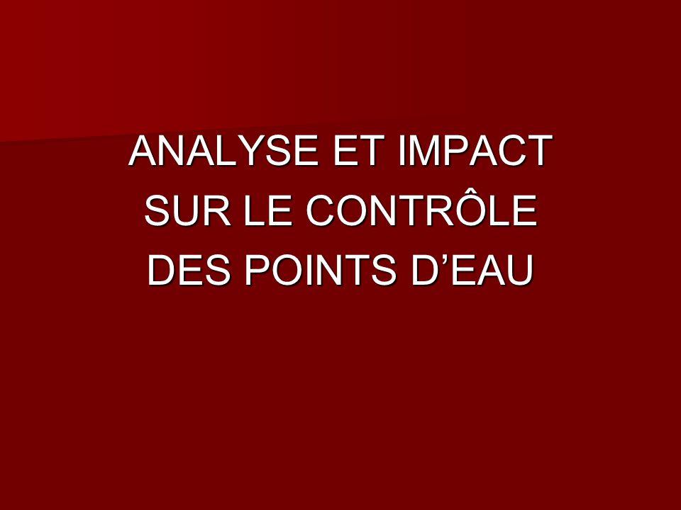 ANALYSE ET IMPACT SUR LE CONTRÔLE DES POINTS D'EAU