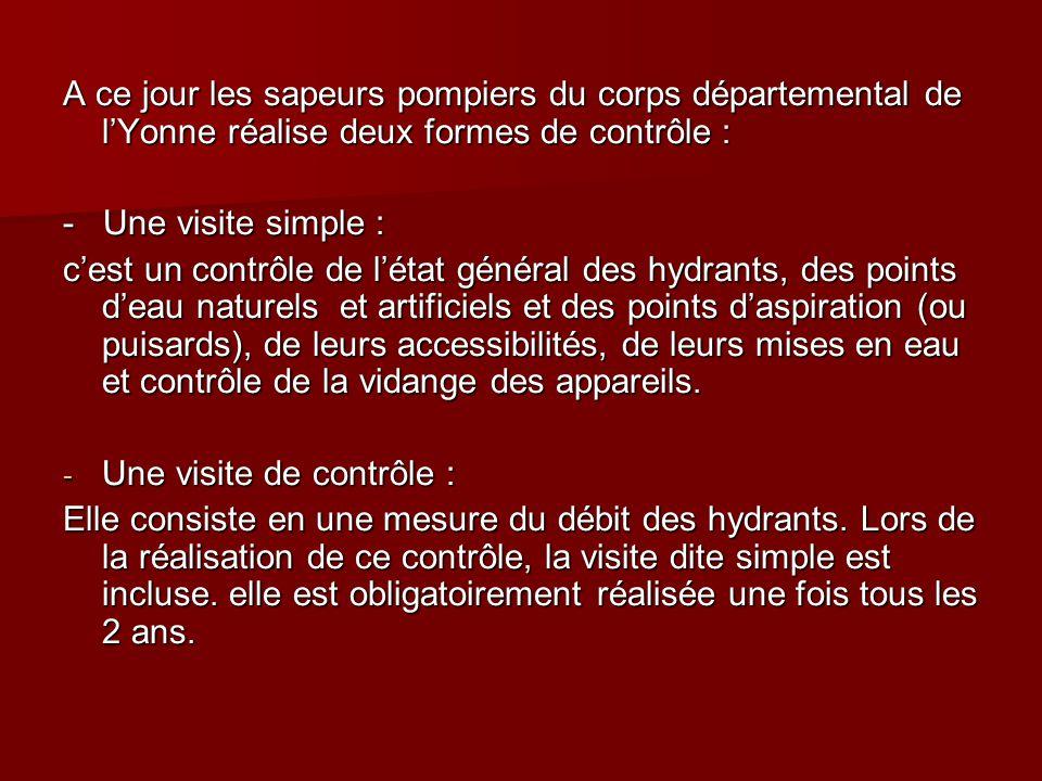 A ce jour les sapeurs pompiers du corps départemental de l'Yonne réalise deux formes de contrôle : - Une visite simple : c'est un contrôle de l'état g