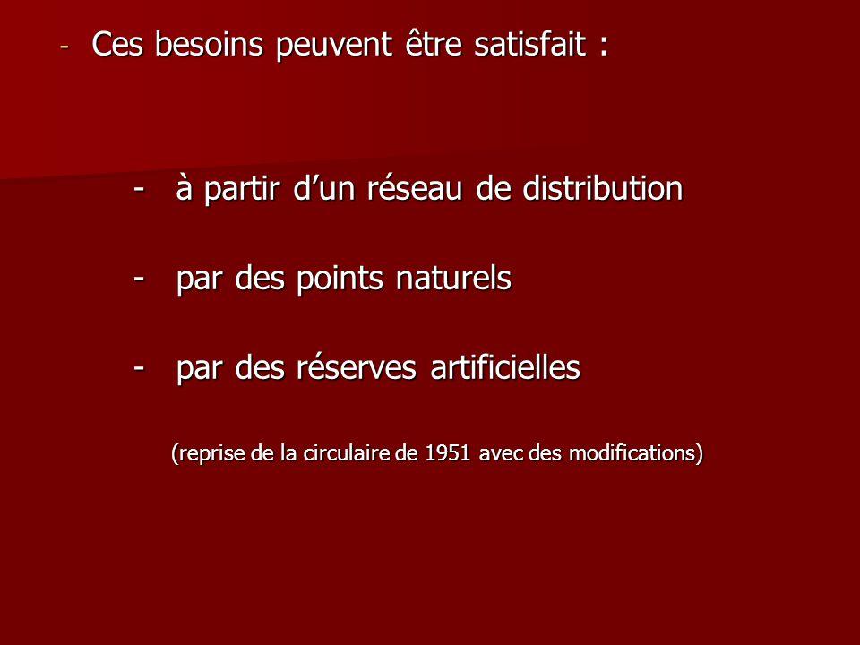 - Ces besoins peuvent être satisfait : - à partir d'un réseau de distribution - à partir d'un réseau de distribution - par des points naturels - par d