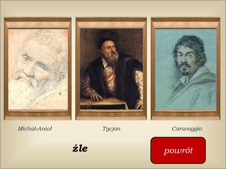 Kto namalował ten obraz ? Michelangelo Tycjan Caravaggio Klikaj w czerwony guzik