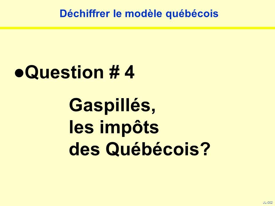 Déchiffrer le modèle québécois Question # 4 Gaspillés, les impôts des Québécois? JL-002