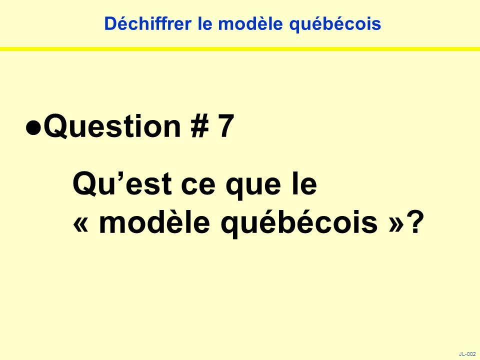 Déchiffrer le modèle québécois Question # 7 Qu'est ce que le « modèle québécois »? JL-002